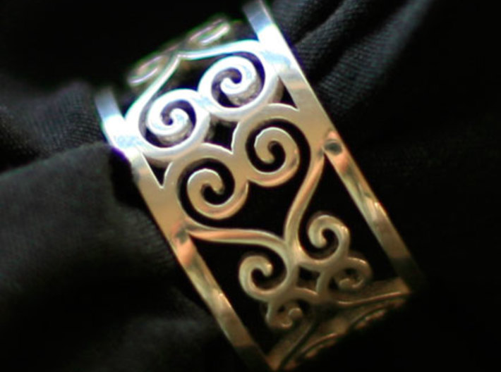 Scroll Heart Ring Size 7 3d printed