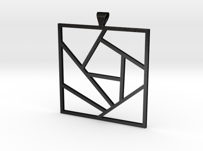 Crazy Quilt Pendant - Thicker Lines 3d printed