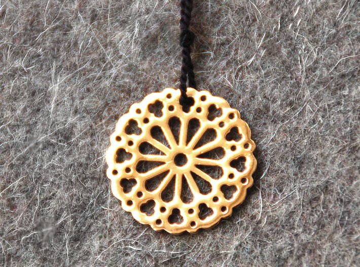 Religion Rose Pendant 3d printed Polished brass