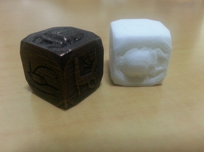 Egyptian Themed Die 3d printed White Strong Flexible and Polished Bronze Steel