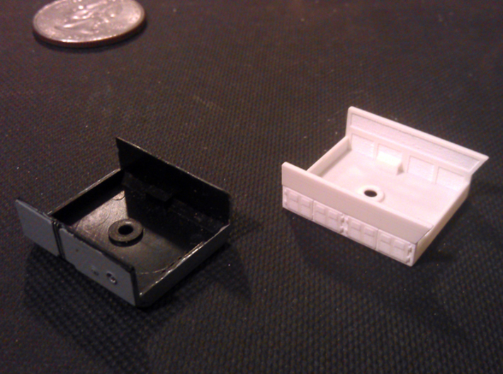 GE Gas Turbine Battery Box x2 - (N Scale) 1:160 3d printed New And Old Battery Box
