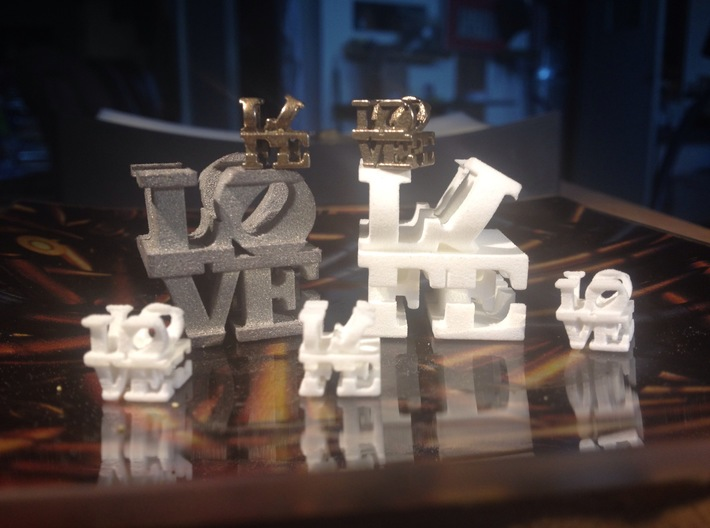 love/life - tiny (1cm) 3d printed Small and Tiny, Alumide, Plastic, and Stainless