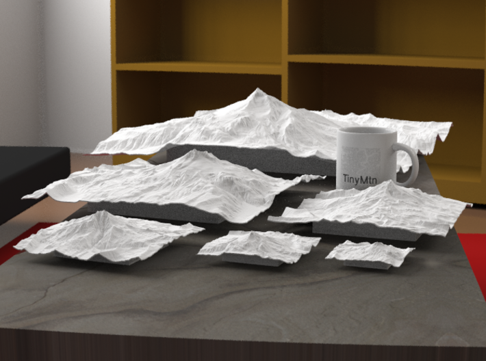 """12'' Mt. Jefferson, Oregon, USA 3d printed Radiance rendering of all available sizes: 3"""", 4"""", 6"""", 8"""", 12"""", 20""""."""