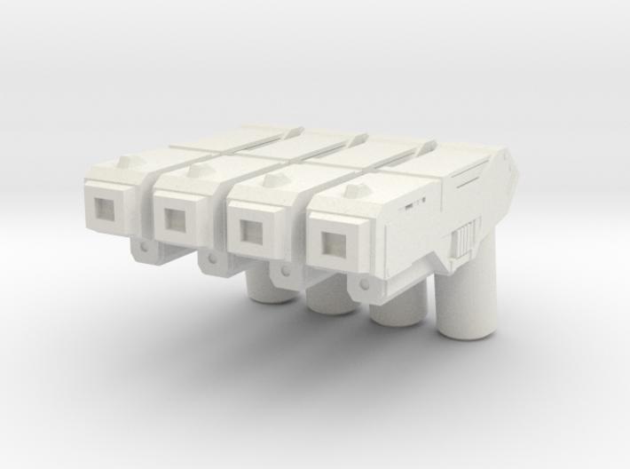 Custom futuristic pistol x4 for Lego minifigs 3d printed