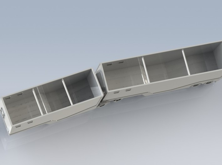 N scale 1/160 Woodchip B-train trailer 3d printed A CAD render showing the interior & floor ribbing.