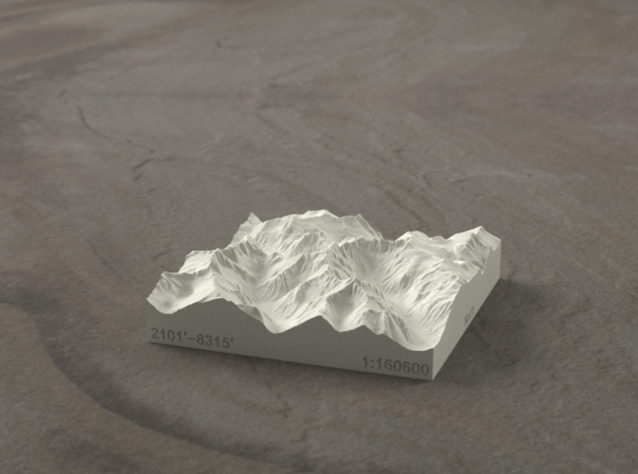 3'' Picket Range, Washington, USA, Sandstone 3d printed Rendering of model from the East, with McMillan Creek on the left