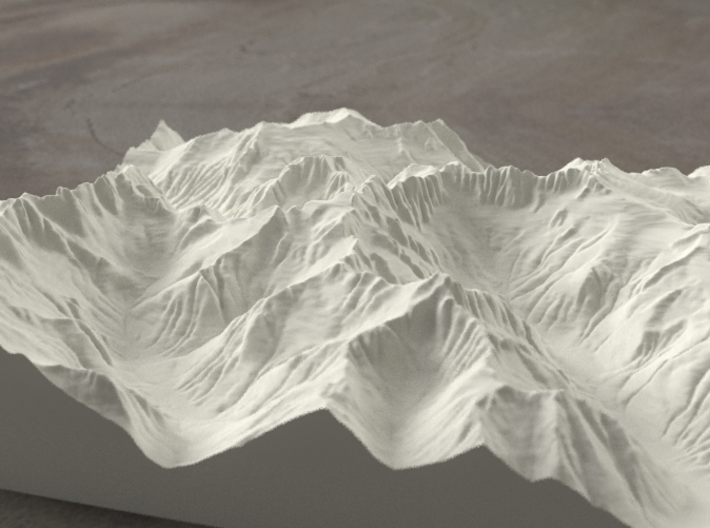 8'' Picket Range, Washington, USA, Sandstone 3d printed Rendering of model from the East, with McMillan Creek on the left