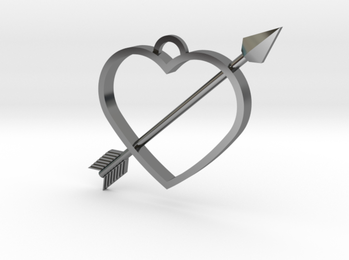 Cupid's Arrow Heart Pendant 3d printed
