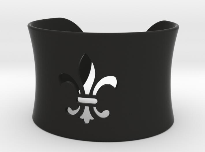 Fleur De Lis Bangle Cuff Bracelet 3d printed