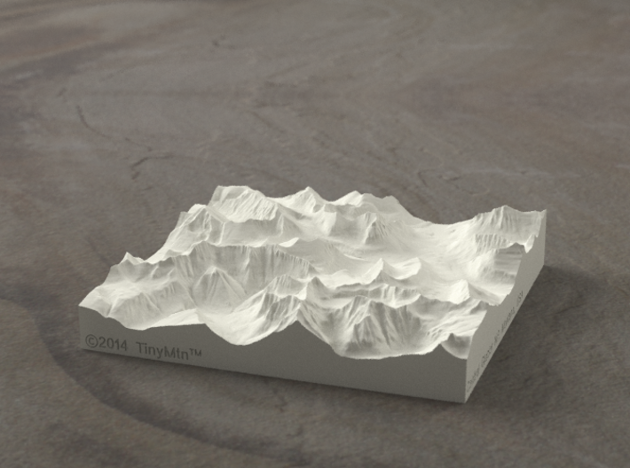 4'' Glacier National Park, Montana, USA, Sandstone 3d printed Rendering of model, looking East over the Going-to-the-Sun Road