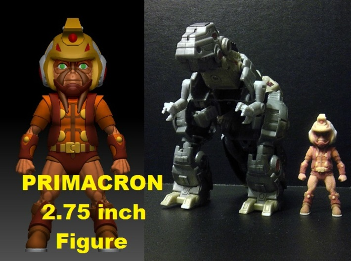 Primacron homage Space Monkey 2.75inch Transformer 3d printed Size comparison of 2.75 inch Primacron figure printed in Full Color Sandstone with Generations Voyager Class FOC Grimlock. Grimlock figure sold separately