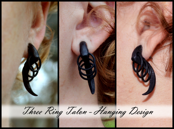 Three Ring Talon Earrings (select a size) 3d printed