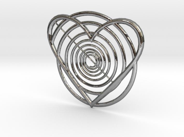 Hypnotic Heart Pendant 3d printed