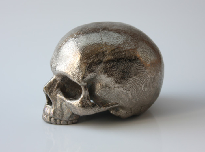 Yorick Skull with Latin Inscription 3d printed polished nickel steel