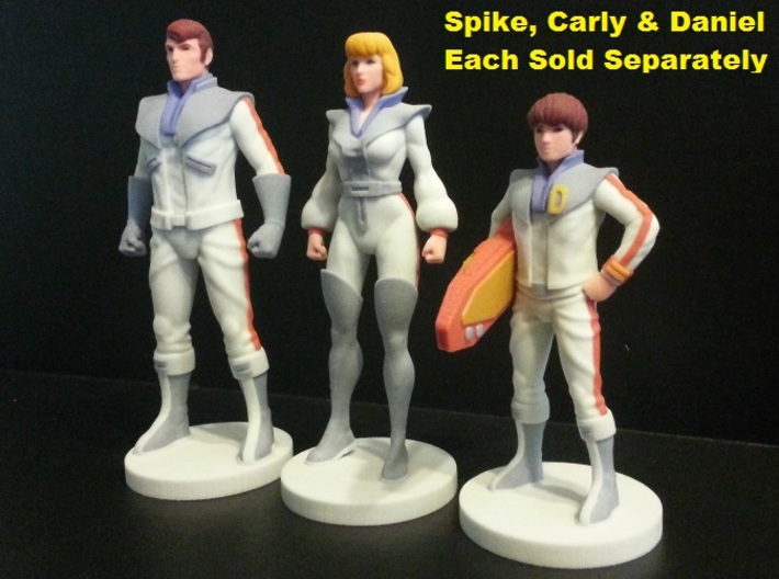 Spike homage Space Man 6.8inch Full Color Statue 3d printed Family Portrait with Spike, Carly and Daniel. Models were printed in Full Color Sandstone. Each figure sold separately.