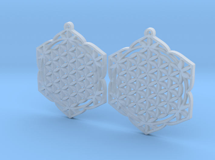 36x2mm Lotus of Life Ear Rings 3d printed