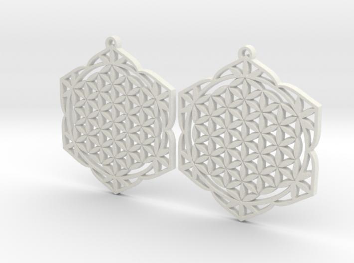43x2mm Lotus of Life Ear Rings - Sacred Geometry 3d printed
