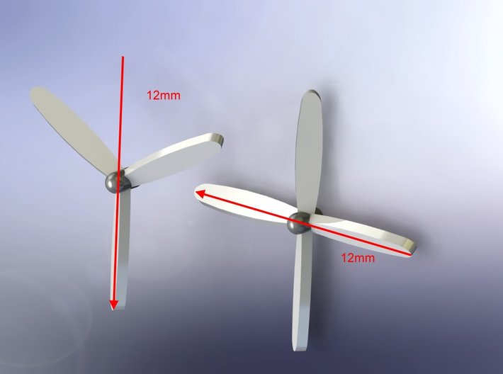 4-Blade Propeller x 8 12mm Diameter 1/285 6mm 3d printed 3- or 4-Blade Props