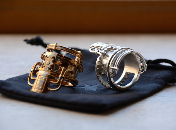 Steampower Ring V3 3d printed Polished Bronze & Premium Silver