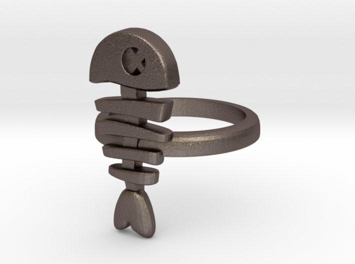 Fish Bone Ring - size 6.5 3d printed