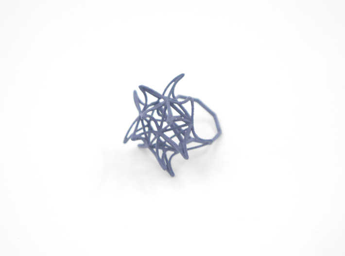 Aster Ring (Small) Size 9 3d printed Azurite Nylon (Custom Dyed Color)