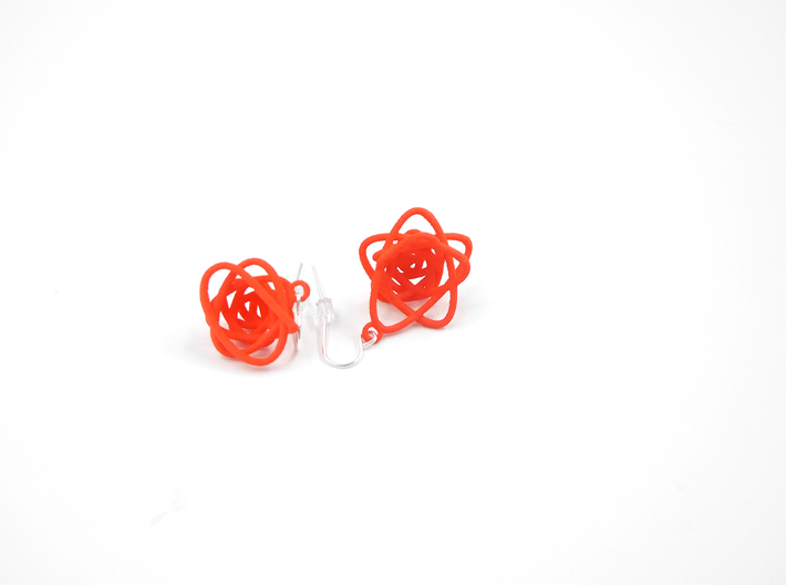 Sprouted Spiral Earrings 3d printed Coral Nylon (Custom Dyed Colors)