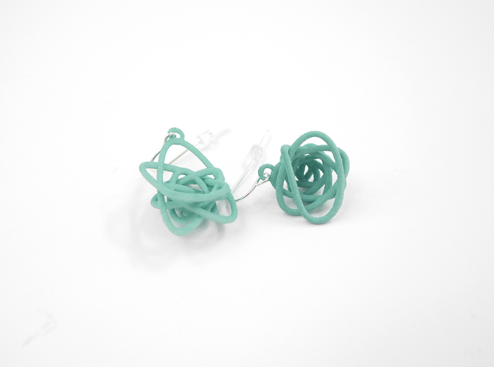 Sprouted Spiral Earrings 3d printed Teal Nylon (Custom Dyed Color)