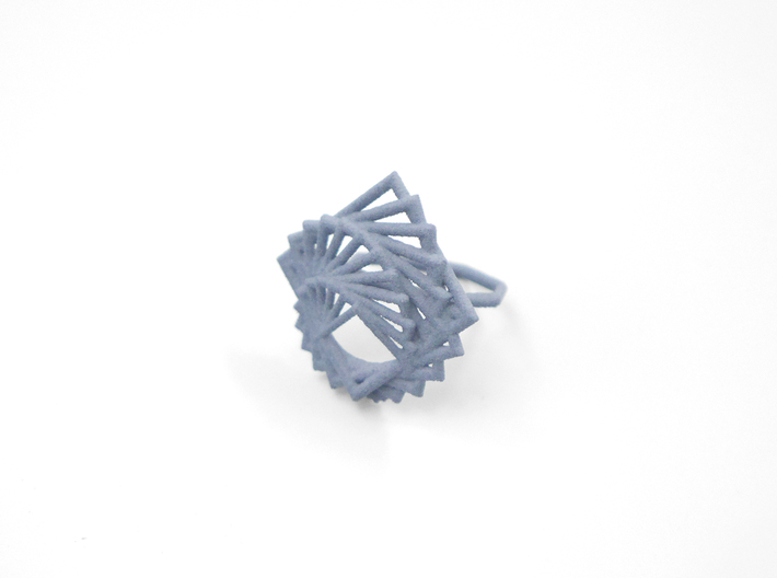 Arithmetic Ring (Size 7) 3d printed Azurite Nylon (Custom Dyed Color)