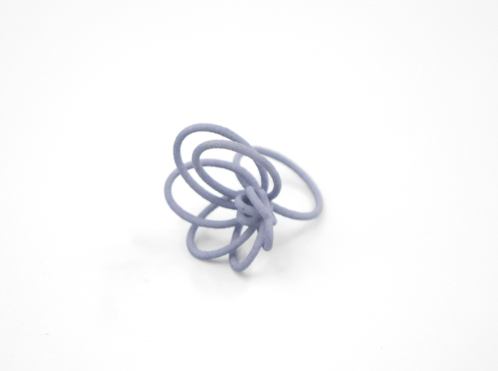 Flora Ring A (Size 9) 3d printed Azurite Nylon (Custom Dyed Color)