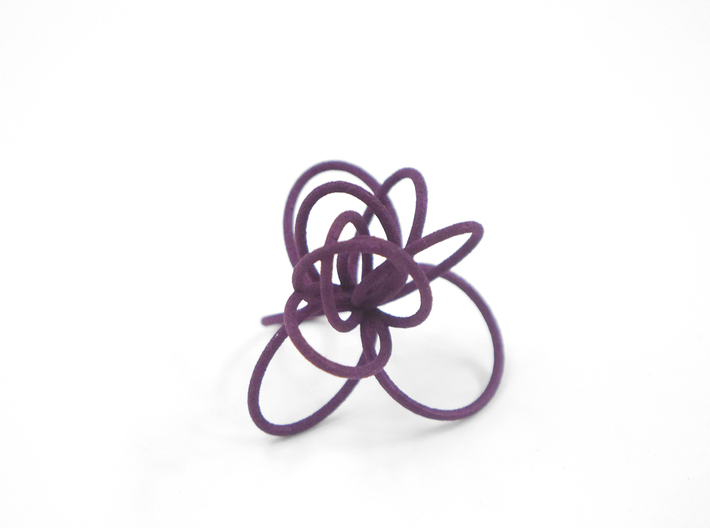 Flora Ring B (Size 6) 3d printed Eggplant Nylon (Custom Dyed Color)