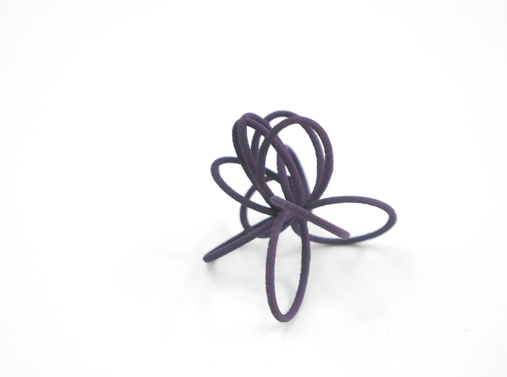 Flora Ring B (Size 6) 3d printed Midnight Nylon (Custom Dyed Color)