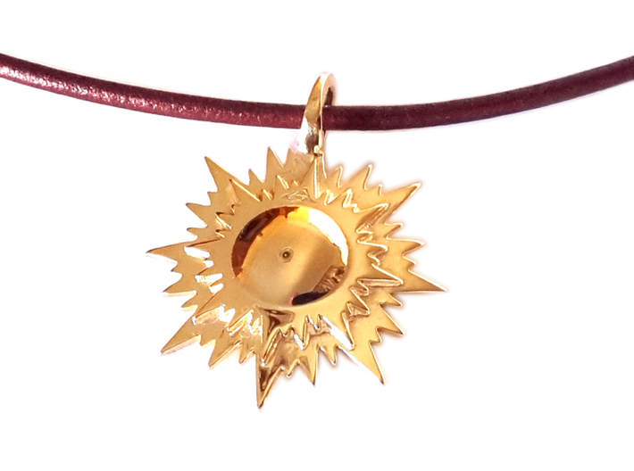 """doppio sole"" pendant (cm 2,6) 3d printed Polished Brass"