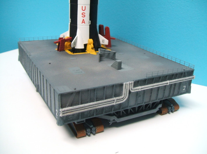 1/400 Saturn V MLP, Apollo launch pad 3d printed This photo shows the MLP, but has the Crawler fitted below (rocket & crawler not included).