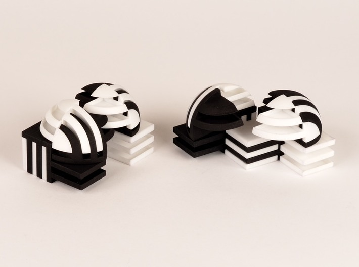 Sphere Version Of Simple Cube Negative 4 Pieces 3d printed create other worldly architecture