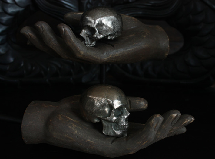 Yorick Skull with Latin Inscription 3d printed yorick skull in polished nickel steel is on top