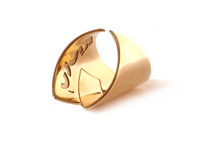 Embrace ring 3d printed Polished  Brass