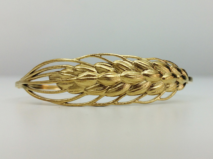 Wheat Bracelet all sizes 3d printed raw brass