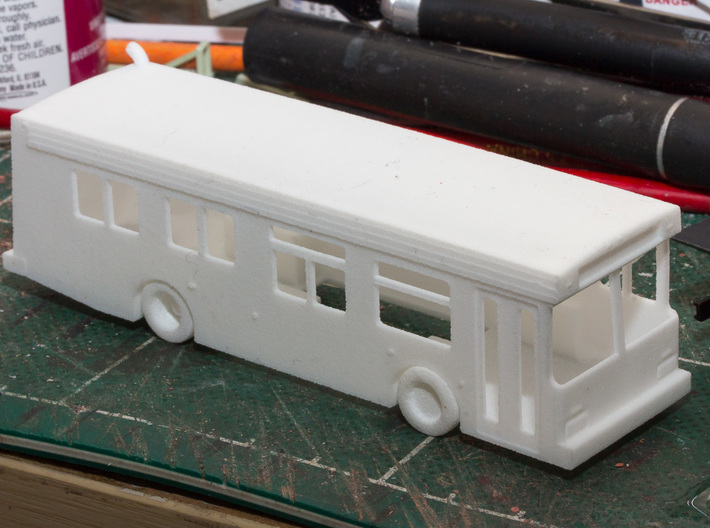 HO scale 1:87 new flyer d30lf bus 30ft 3d printed thanks to member ianclasper