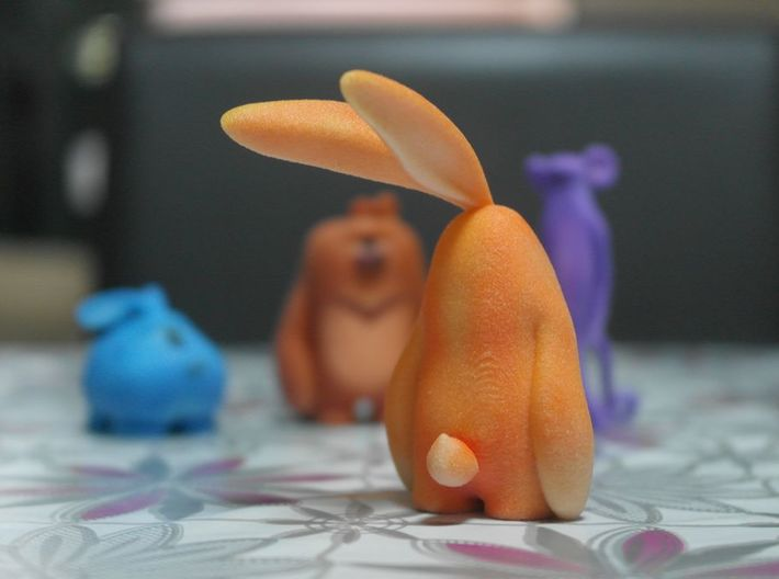 Rabby-Friendly Rabbit 3d printed Printed in Full color sand stone