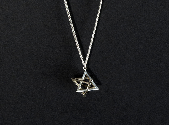Star Tetrahedron double-pendant #Silver 3d printed