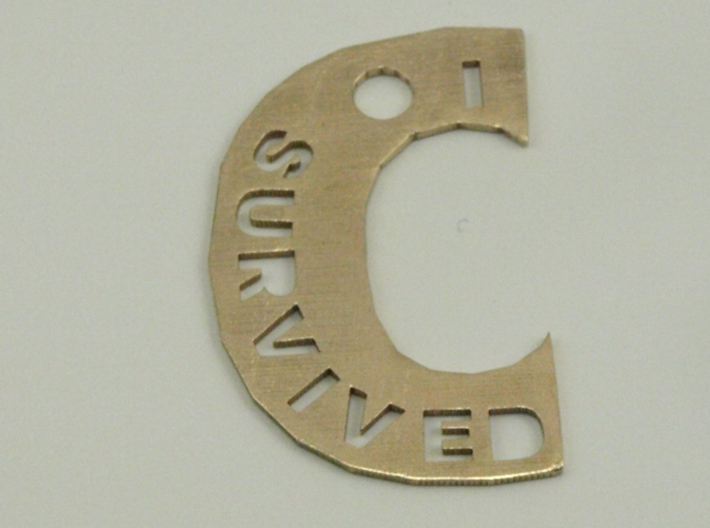 I Survived The Big C Pin/Pendant/Fob, Cut-Through 3d printed Raw Bronze