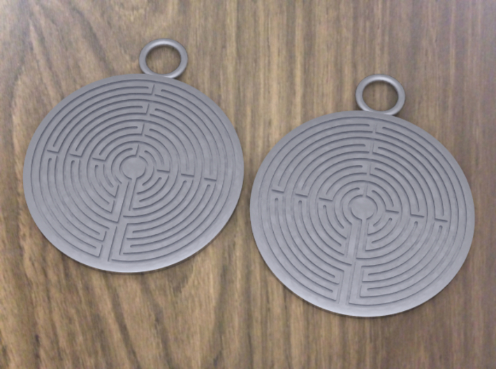 Labyrinth earrings 3d printed These earrings have never been printed. This is a computerized image from the 3D program I used to design the rings.