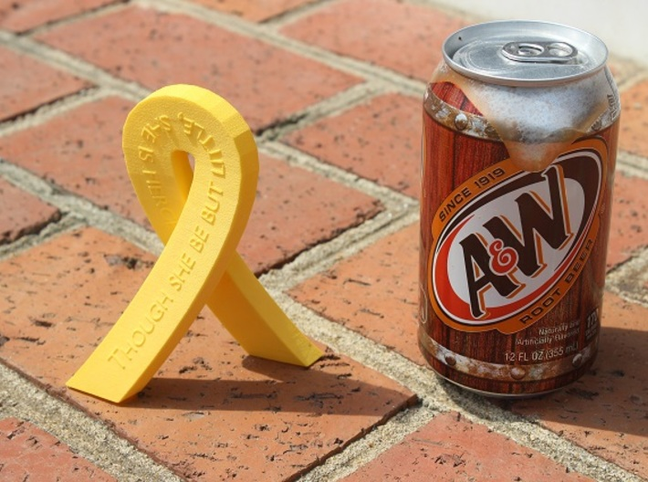 Standing Cancer Ribbon - She Is Fierce 3d printed Size Comparison - Cancer Ribbon in Yellow Strong & Flexible Plastic