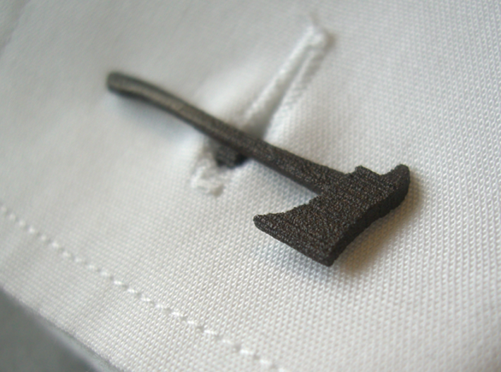 Firefighters' Axe Cufflink 3d printed with rotating clicking mechanism