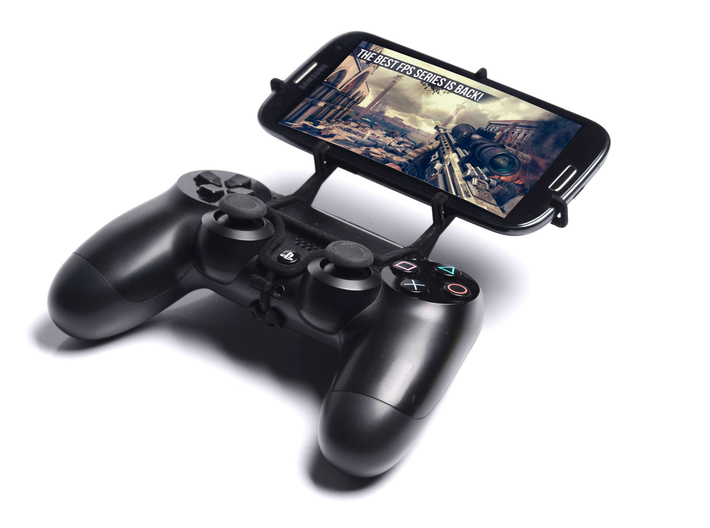PS4 controller & Plum Flix 3d printed Front View - A Samsung Galaxy S3 and a black PS4 controller