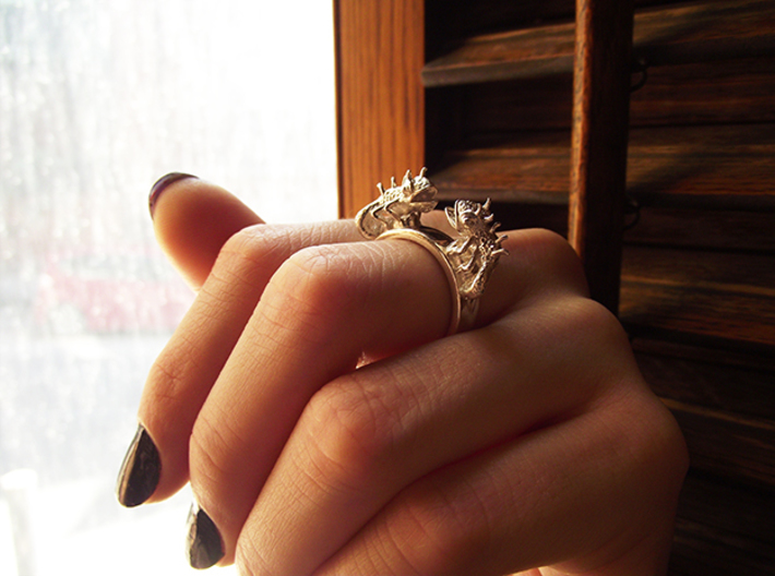 Twin Chameleon Ring 3d printed Silver Animal Ring