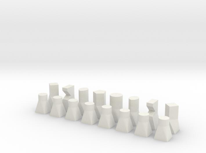Bauhaus type chess set 3d printed