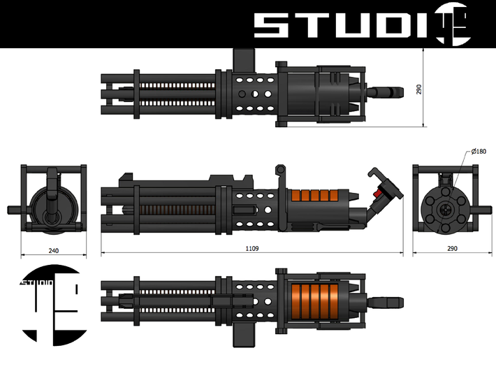 Z6 Rotary Blaster Cannon 7/10 3d printed