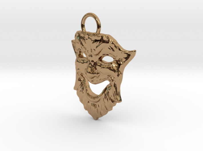 Laughing Greek Mask Pendant 1.5inches 3d printed
