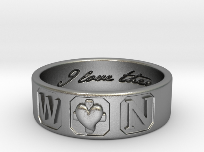 W and N Ring Size 6 3d printed